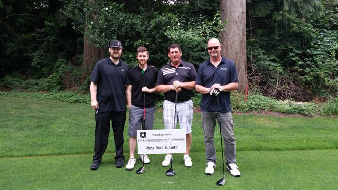 The ROSS team (left) pose for a photo with our golf partners and clients from Depend-A-Dor (right).